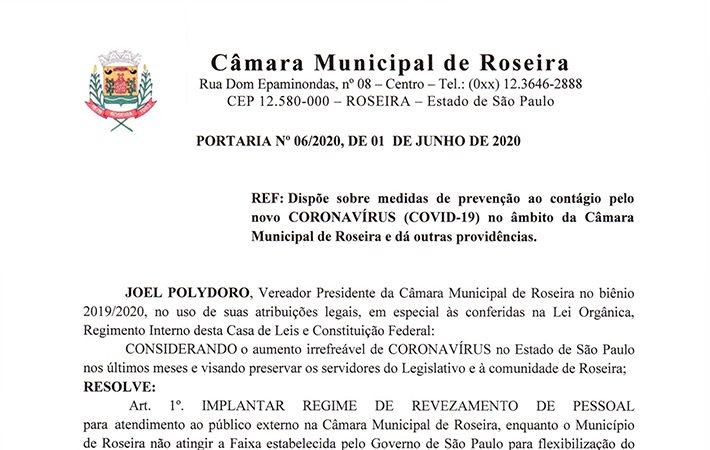 Portaria n°06/2020 – Prevenção ao novo Coronavírus na Câmara Municipal