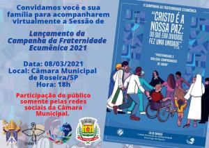 Convite da Câmara Municipal de Roseira para o lançamento da CF Ecumênica de 2021